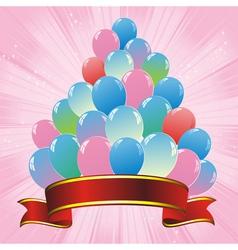 balloons pink ribbon vector image