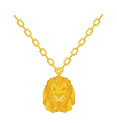 Golden lion necklace gold jewelry on chain vector