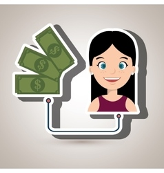 Woman and bills isolated icon design vector