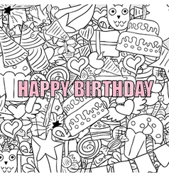 Happy birthday doodles drawing by hand vector