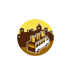 Beer flight glass on van buildings circle retro vector