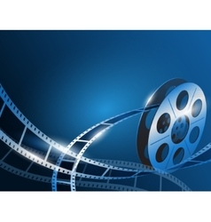 a film stripe reel on shiny blue vector image