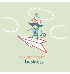 Businessman flying on a paper airplane vector