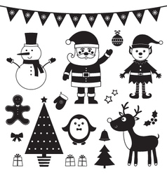 Christmas set isolated black elements vector