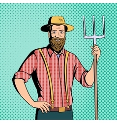 Farmer comics character vector image