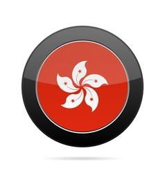 Flag of Hong Kong Shiny black round button vector image