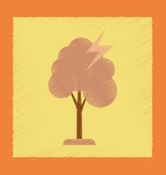 Flat shading style icon lightning tree vector