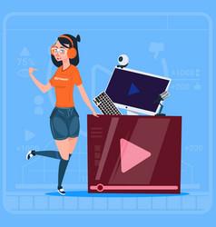 Girl over vlogger channel screen modern video vector