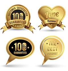 Gold badges set embroidery style vector