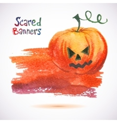 Halloween watercolor banner pumpkin scary holiday vector