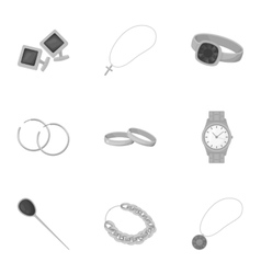 Jewelry and accessories set icons in monochrome vector image vector image