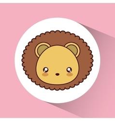 Kawaii lion icon Cute animal graphic vector image