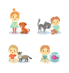 kids and pets isolated on white background - boys vector image vector image