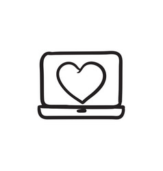 Laptop with heart symbol on screen sketch icon vector