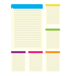 Lined paper from a colorful notebook on white back vector