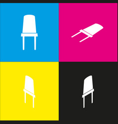 Office chair sign white icon with vector