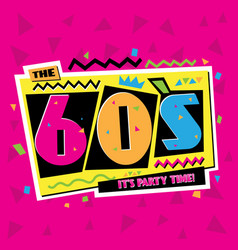 party time the 60s style label vector image