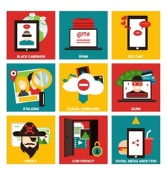 Popular internet activity flat icon vector image vector image