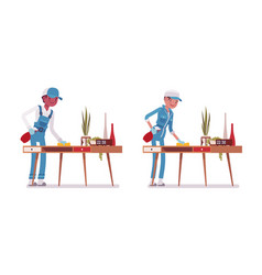 Set of male and female janitor dusting the desk vector