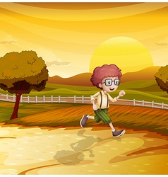 Sunset runner vector