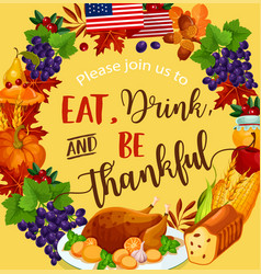 Thanksgiving day harvest greeting poster vector
