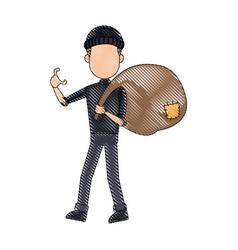 Thief stealing money cartoon hacker stealing a bag vector