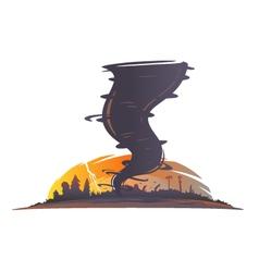 Tornado landscape silhouette vector