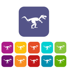 tyrannosaur dinosaur icons set flat vector image vector image