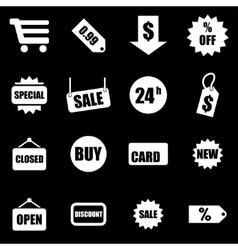 white shopping icon set vector image vector image