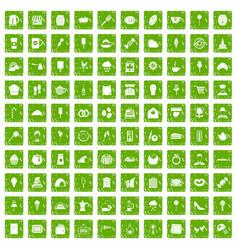 100 patisserie icons set grunge green vector
