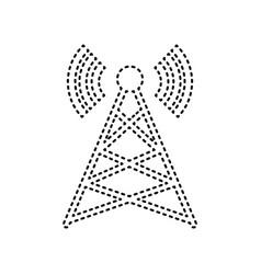 antenna sign black dashed vector image