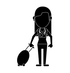woman tourist with camera and suitcase pictogram vector image