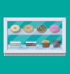 Bakery shop vitrine freezer with cakes and pastry vector