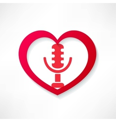 Design element heart with microphone vector