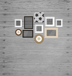 Vintage frame on the wood wall vector