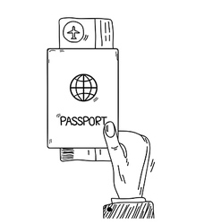 Sketch hand holding passport and air tickets in vector