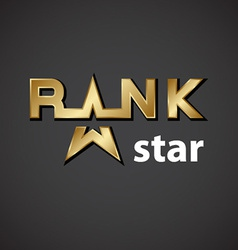Rank golden star inscription icon vector