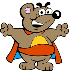 An happy strong super hero bear vector