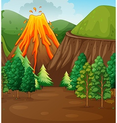 Nature scene with volcano eruption vector