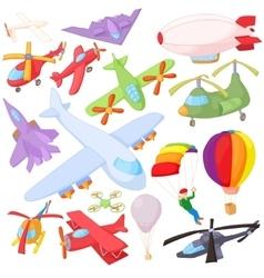 Aviation icon set cartoon style vector