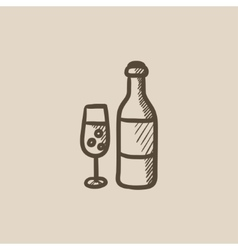 Bottle and glass of champagne sketch icon vector