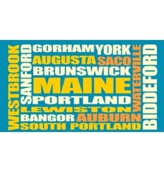 Maine state cities list vector