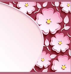 background with 3d sakura and leaf vector image vector image
