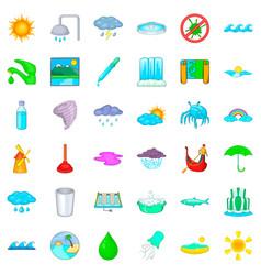 bathroom icons set cartoon style vector image vector image