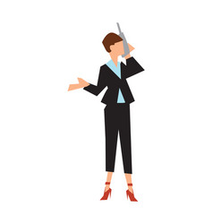 businesswoman in business suit speak phone vector image
