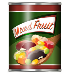 canned food with mixed fruit vector image