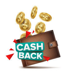 cash back concept realistic wallet and vector image