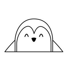Cute penguin face cartoon vector