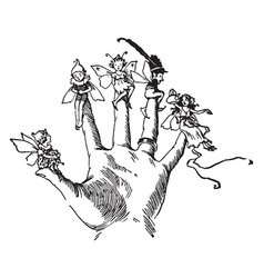 Finger fairies sitting vintage engraving vector