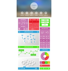 Flat UI kit for web and mobile design vector image